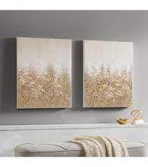 gold glitter textured canvas wall art