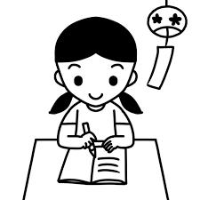 夏休みの宿題を解く児童のイラスト 無料イラスト素材素材ラボ