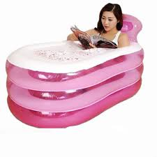 pvc folding portable inflatable bathtub spa bath tub traveling pink new us