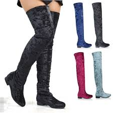 womens thigh high flat stretch leg tall zip las over the knee riding boots
