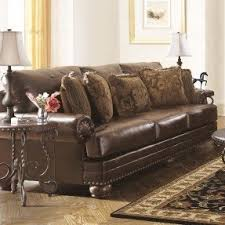 Leighton Leather Sofa Elegant Sofa Upholstered With High Quality Leather  And Finished Decorative Heads Nails Antique I64