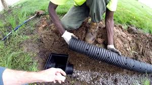 holes point down from perforated pipe for the french drain