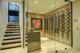 view in gallery expansive wine cellar under the staircase from meridith baer home