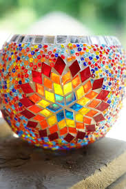 sun 11cm mosaic glass candle holder distance