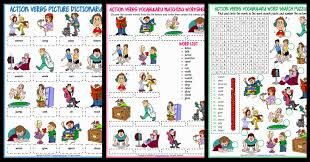 Verb Action Action Verbs Esl Printable Vocabulary Worksheets