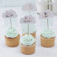 o world baby shower cupcake toppers