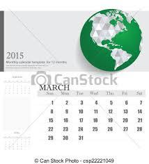 Simple 2015 Calendar Simple 2015 Calendar March Vector Illustration