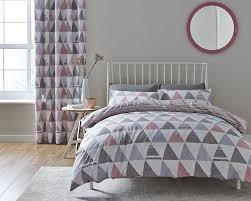 catherine lansfield scandi geo shapes pink single bed duvet cover set