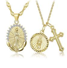 amazon hanpa 2pcs gold plated virgin mary cross pendant necklace for women s cz vine catholic religious jewelry set jewelry