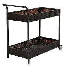 2 tier rattan wicker rolling serving bar cart outdoor with wheels modern ikea