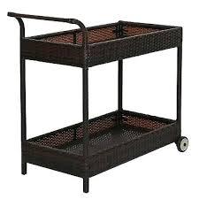 2 tier rattan wicker rolling serving bar cart outdoor with wheels modern ikea