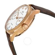 iwc portuguese silver dial 18kt rose gold brown leather strap automatic men s watch 5001 13