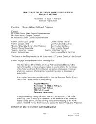 MINUTES OF THE PATERSON BOARD OF EDUCATION REGULAR MEETING November 12,  2003 - 7:00 p.m. Eastside High School Presiding: Comm