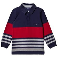 gant navy and red multi stripe rugby