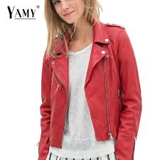 2018 winter coat motorcycle faux pu leather jacket women short outerwear red black rivet las moto biker jacket