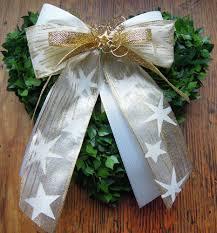 10 Weihnachtsschleifen Weiß Gold Sterne Breit Weihnachtsbaum