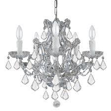 crystorama maria theresa 6 light clear italian crystal chrome mini chandelier