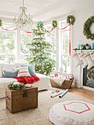 simple homes christmas decorated. Red And White Christmas Decor - Grain Sack Stockings -- Photo: Ray Kachatorian Simple Homes Decorated O