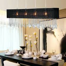 Chandeliers Design:Fabulous Chandelier Extraordinary Rectangular Shade  Pendant Black With Crystal Wooden Dining Table And