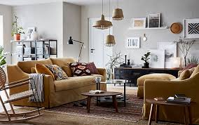living room furniture. A Beige, Brown And Yellow Living Room With Pair Of FÄRLÖV 3-seat Furniture M