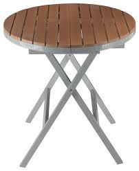 cortesi home avery aluminum outdoor round folding table poly wood teak