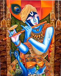 lord krishna painting by les das
