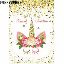 Children Birthday Invitations Funnybunny Unicorn Invitations Rainbow Glitter Unicorn Birthday Party Invitation Cards For Kids Birthday Babyshowerpartysupplies