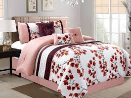 7 pc cherry blossom bird embroidery pleated comforter set pink white purple queen