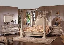 Mc Ferran B9097 5 pc princess anne ii antique white wood finish queen 4 poster canopy bedroom set with padded headboard with marble tops
