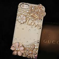name bling crystal love crown diy cell phone case shell cover deco den kit