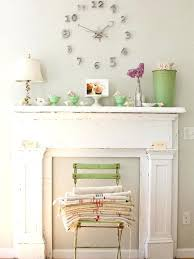 fake fireplace wall shabby chic style um tone wood floor living room idea in other with