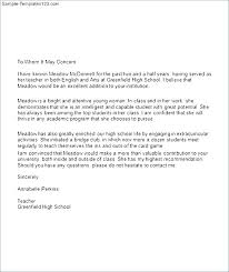 Letter Of Recommendation Teacher Letter Of Recommendation For A Highschool Student From A
