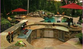 backyard designs with pool and outdoor kitchen. Unique Outdoor Outdoor Kitchen Designs With Pool Backyard And  Modest Image Of To D