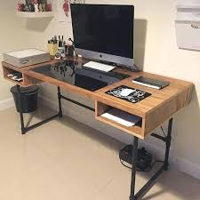 custom made office furniture. Custom Office Table Industrial Wood Desk With Steel Pipe Legs And An Embedded For The Ideal Made Furniture P