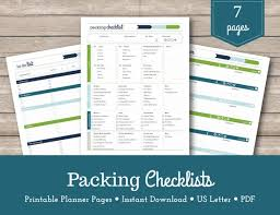Printable Travel Packing Lists Family Vacation Travel Planner Vacation Organizer Shopping List Pdf Us Letter A5
