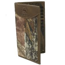 john deere western wallet mens leather checkbook tan camo 4051000 for