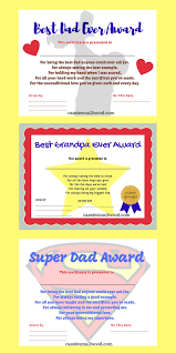 free printable best dad ever best grandpa ever award certificates for an easy diy father s