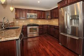 Red Floor Tiles Kitchen Grey Granite Countertops Staimless Steel Handles White Kitchen