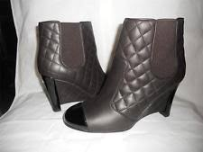 chanel quilted boots. chanel brown quilted leather patent cap toe wedge ankle booties boots $1325 chanel