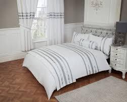 glitz glamour 100 cotton white silver trim king size bling duvet cover set