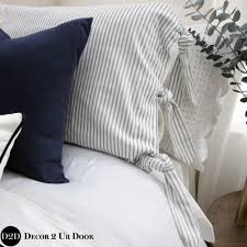 bedding set farmhouse navy white ticking stripe ties designer dorm bedding