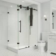 frameless corner sliding shower door in matte black