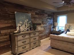 reclaimed barn wood wall bedroom grey brown