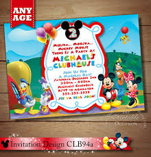 Mickey Mouse Clubhouse 2nd Birthday Invitations Same Day Svc Mickey Mouse Clubhouse Invitation Mickey
