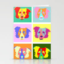 Border Collie Pop Art Stationery Cards By Pounddesigns