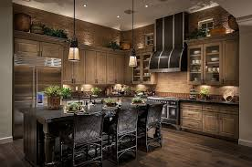 kitchens with dark cabinets. Contemporary Cabinets Brown Tile Walls Match Wood Cabinetry And Darker Hardwood Flooring In This  Kitchen Centered Around Black Inside Kitchens With Dark Cabinets