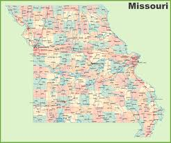 road map of missouri with cities