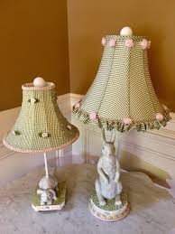 set pair of bunny rabbit lamps ceramic ribbon shades mackenzie childs napkin