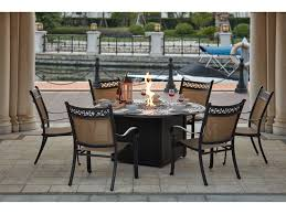 darlee outdoor living standard mountain view cast aluminum 7 piece dining propane fire pit dining set with 60 inch round in antique bronze
