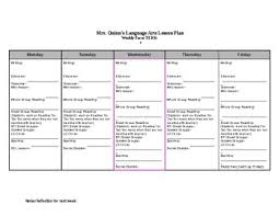 Ela Weekly Lesson Plan Template